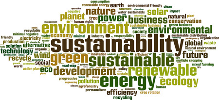 environmental policy: Sustainability word cloud concept. Vector illustration