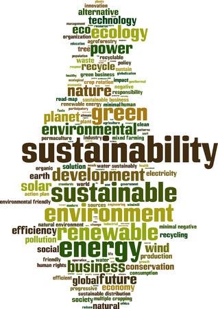 sustentabilidad: Palabra Sostenibilidad concepto de nube. Ilustraci�n vectorial