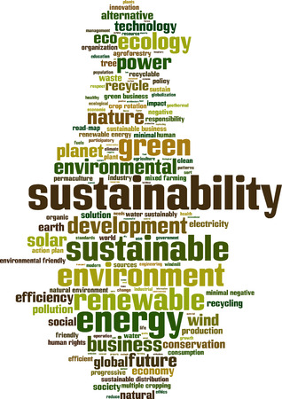 sustainability: Sustainability word cloud concept. Vector illustration