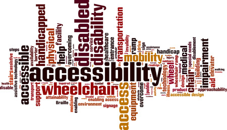 assistive: Accessibility word cloud concept. Vector illustration Illustration