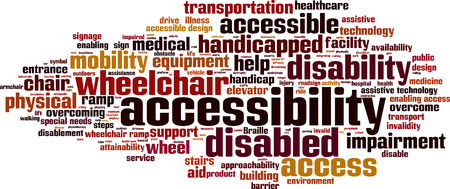 handicapped: Accessibility word cloud concept. Vector illustration Illustration