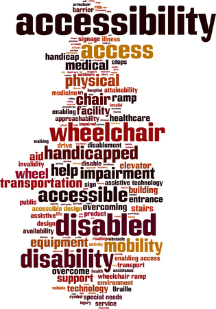 Accessibility word cloud concept. Vector illustration Illustration