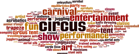contortion: Circus word cloud concept. Vector illustration