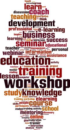 workshop seminar: Workshop word cloud concept. Vector illustration Illustration