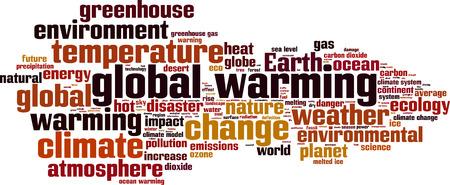 greenhouse gas: Global warming word cloud concept. Vector illustration Illustration