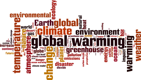 greenhouse gas: Global warming word cloud concept. Vector illustration Illustration