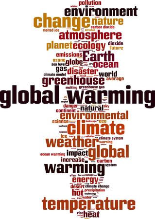 지구 온난화 단어 구름 개념입니다. 벡터 일러스트 레이 션 일러스트