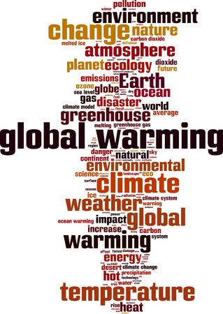 Opwarming van de aarde woord wolk concept. Vector illustratie