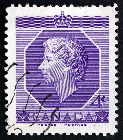 queen elizabeth ii: CANADA - CIRCA 1953: a stamp printed in the Canada shows Queen Elizabeth II, circa 1953