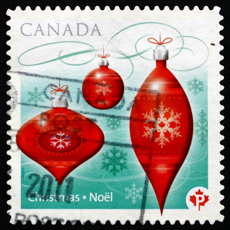 canada stamp: CANADA - CIRCA 2010: a stamp printed in the Canada shows Christmas Baubles, circa 2010
