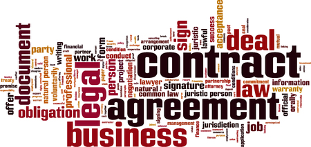lawful: Contract word cloud concept. Vector illustration