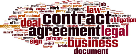 Contract word cloud concept.