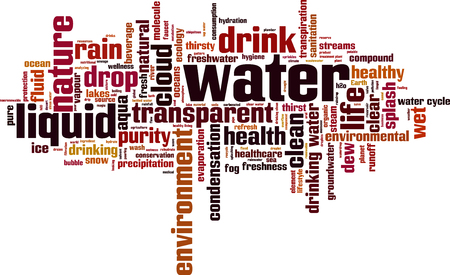 transpiration: Water word cloud concept.