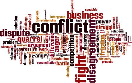 dissension: Conflict word cloud concept.