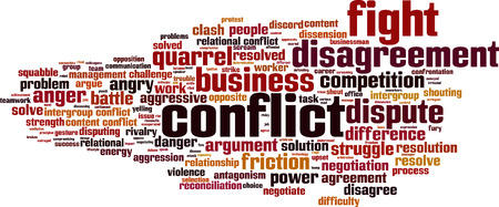discord: Conflict word cloud concept.