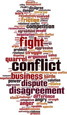 konflikt: Konflikt Koncepcja cloud słowo.