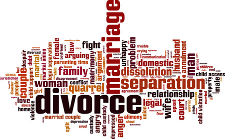 divorce court: Divorce word cloud concept. Illustration