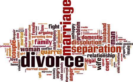 loveless: Divorce word cloud concept. Illustration