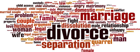 dissolution: Divorce word cloud concept. Illustration