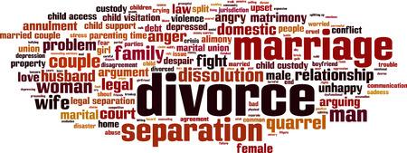 mot de concept de nuage de divorce.