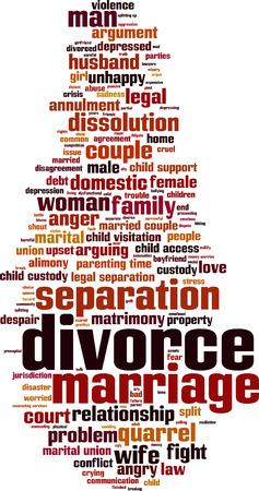 loveless: Divorce word cloud concept.