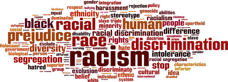 hatred: Racism word cloud concept.