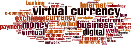 virtual community: Virtual currency word cloud concept.