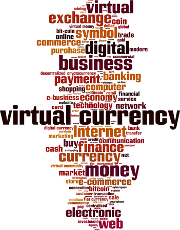 Virtual currency word cloud concept.