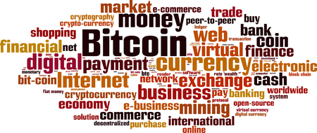 decentralized: Bitcoin word cloud concept.
