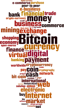 ltc: Bitcoin word cloud concept.
