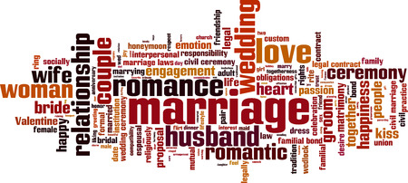 wedlock: Marriage word cloud concept.