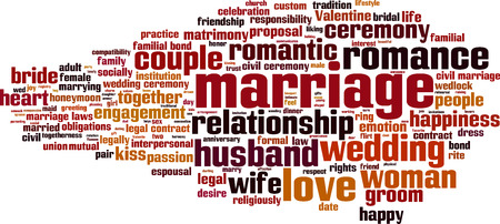 socially: Marriage word cloud concept Illustration