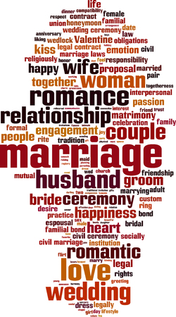 marrying: Marriage word cloud concept. Vector illustration