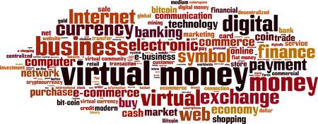 centralized: Virtual money word cloud concept.