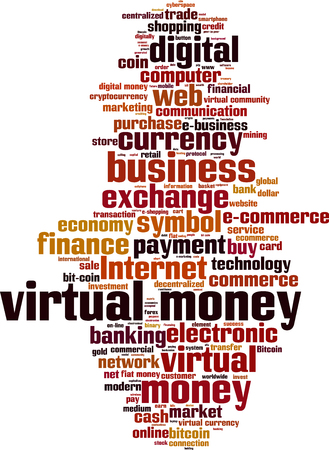 decentralized: Virtual money word cloud concept.