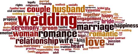 marrying: Wedding word cloud concept. Vector illustration
