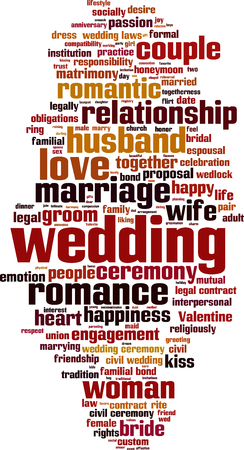 socially: Wedding word cloud concept. Vector illustration