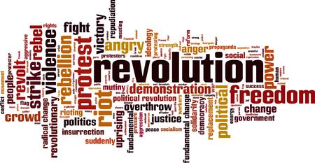 Revolution word cloud concept. Vector illustration
