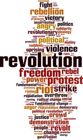 rioting: Revolution word cloud concept. Vector illustration