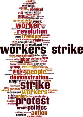 riot: Workers strike word cloud concept. Vector illustration Illustration