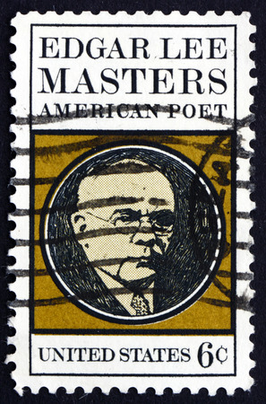 dramatist: UNITED STATES OF AMERICA - CIRCA 1970: a stamp printed in the United States of America shows Edgar Lee Masters, American Poet, Biographer and Dramatist, circa 1970 Editorial