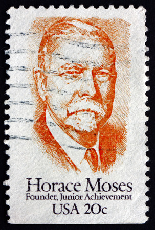 horace: UNITED STATES OF AMERICA - CIRCA 1984: a stamp printed in the United States of America shows Horace Augustus Moses, Prominent Industrialist and Junior Achievement Founder, circa 1984