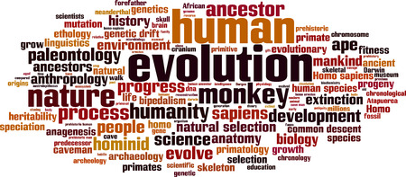hominid: Evolution word cloud concept. Vector illustration Illustration