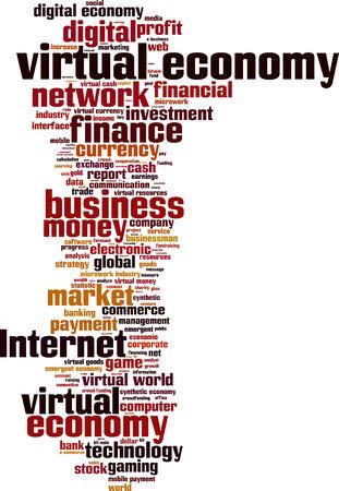virtual world: Virtual economy word cloud concept. Vector illustration