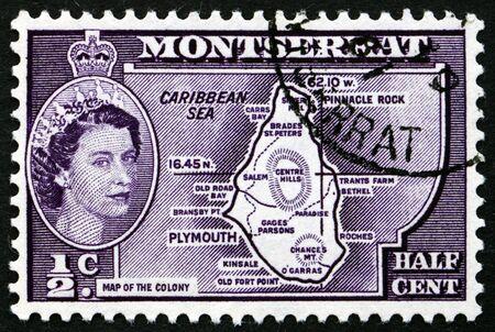queen elizabeth ii: MONTSERRAT - CIRCA 1956: a stamp printed in Montserrat shows Map of Montserrat with Portrait of Queen Elizabeth II, circa 1956 Editorial