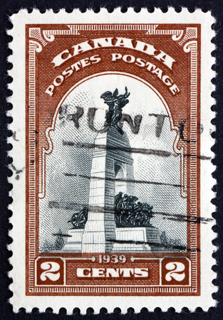 CANADA - CIRCA 1939: a stamp printed in the Canada shows War Memorial, Ottawa, Originally built to Commemorate the Canadians who Died in the First World War, circa 1939