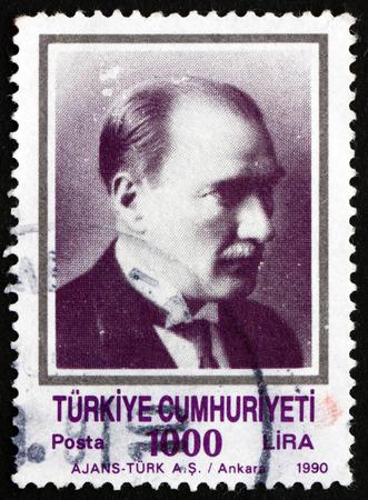 mustafa: TURKEY - CIRCA 1990: a stamp printed in the Turkey shows Mustafa Kemal Ataturk, the First President of Turkey, Father of the Turks, circa 1990 Editorial