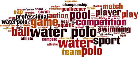 waterpolo: Calefacci�n y agua del concepto de nube de palabras. Ilustraci�n vectorial Vectores