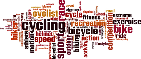 two wheeler: Cycling word cloud concept. Vector illustration