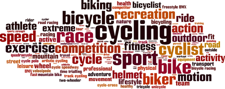 two wheeler: Cycling word cloud concept.